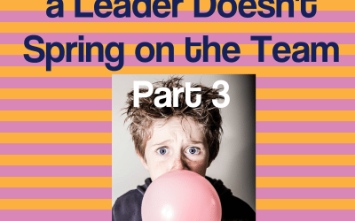 The Top 4 Surprises a Leader Doesn't Spring on the Team–Part 3
